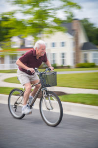 bike riding at senior living community millers grant in ellicott city md