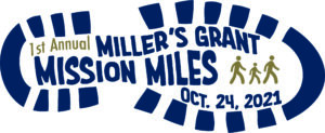 An imprint of a sneaker with 1st Annual Miller's Grant Mission Miles Oct. 24, 2021 in the center.
